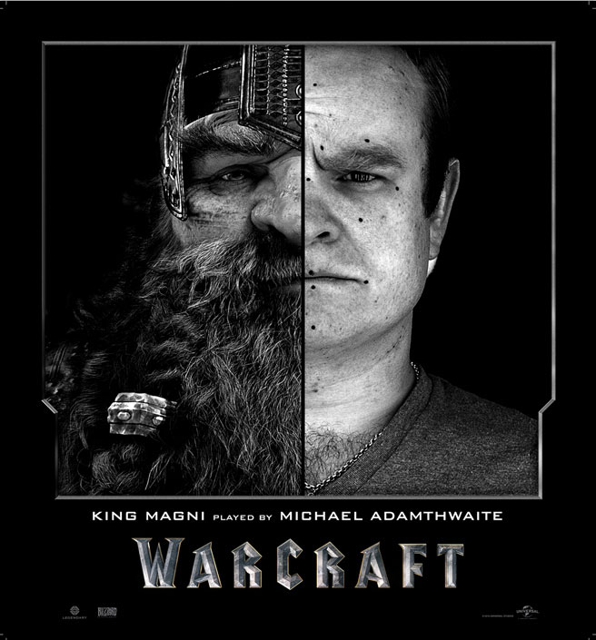 Split Face Portraits of Warcraft Actors and Their CGI Counterpart (2)