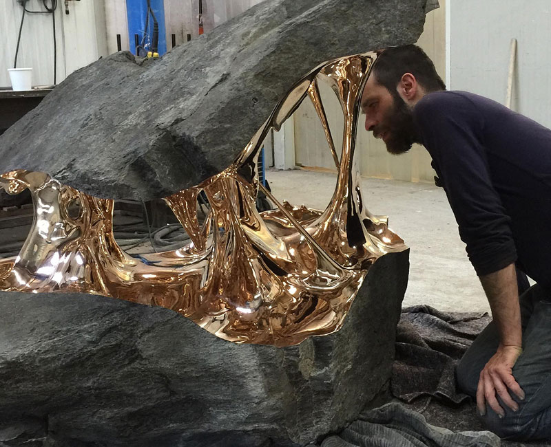 Artist Uses Bronze to Pull Boulders Apart (9 Photos)
