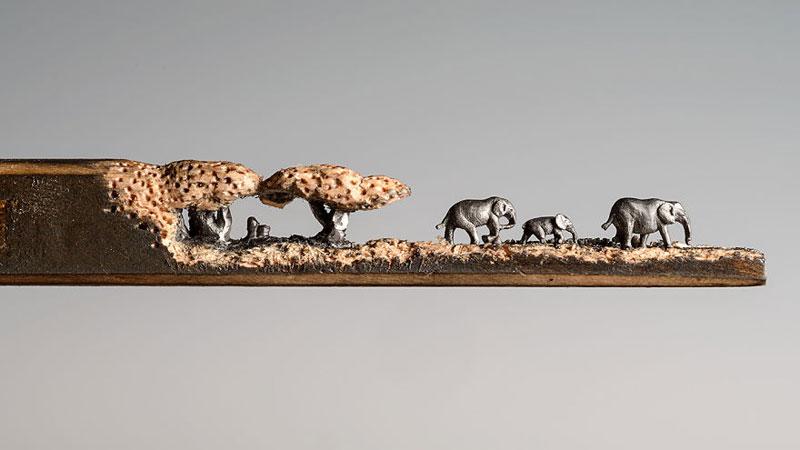 Cindy Chinn Carves Family of Elephants Into a Pencil