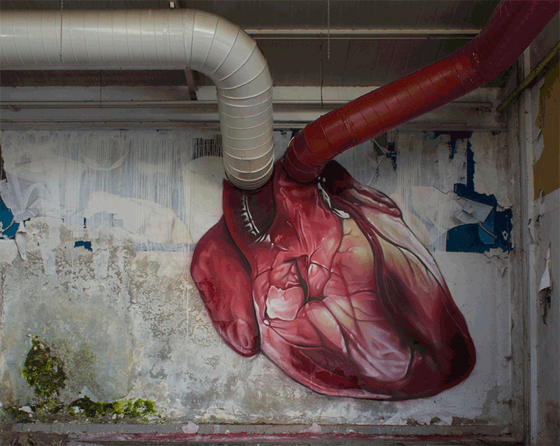heart street art building pipes animated by lonac