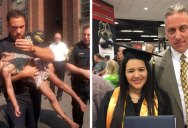 Officer Attends Graduation of Student, Whose Life He Saved When She Was 5