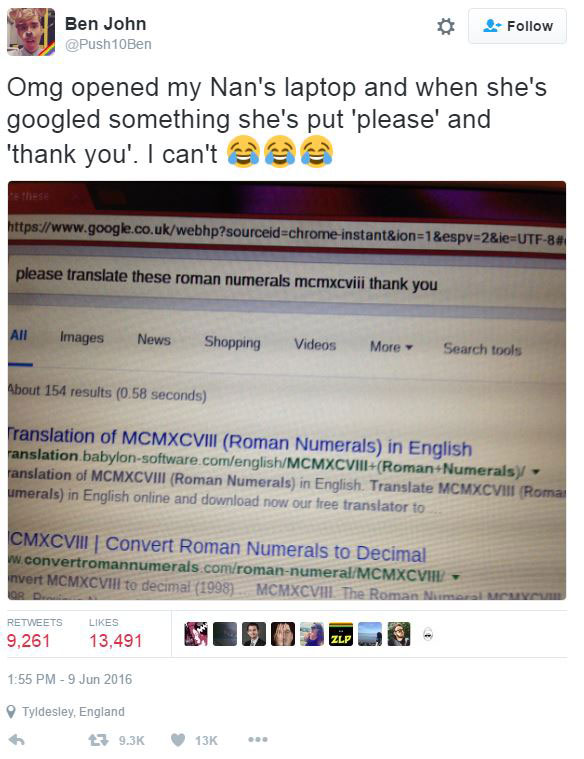 Polite Grandmother Says Please and Thank You When Using Google (1)