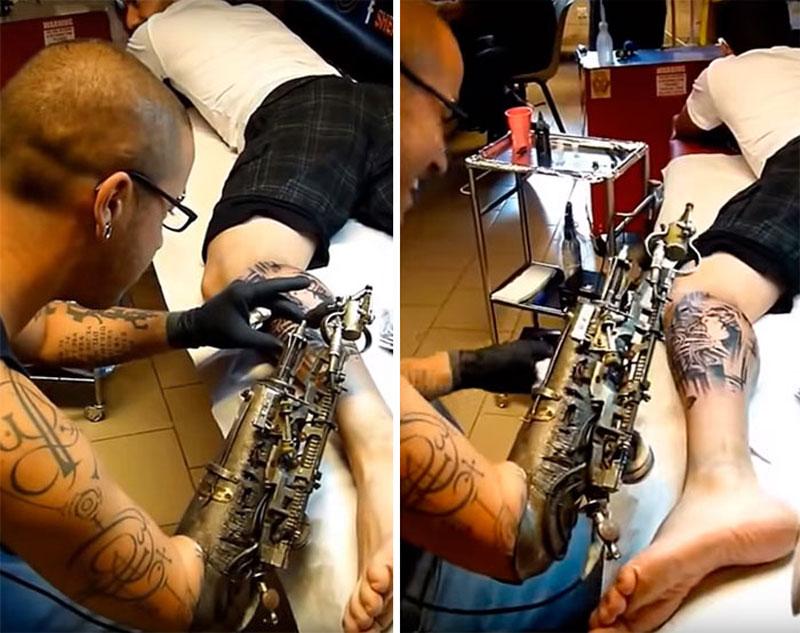 Tattoo Artist Turns Prosthetic Arm Into Badass Tattoo Machine (5)