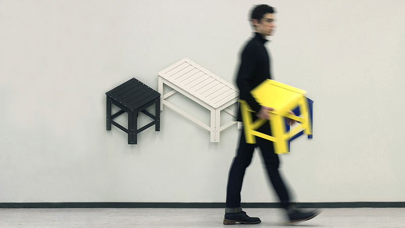 Collapsible Furniture Hangs on Your Wall When Not In Use by Jongha Choi (3)