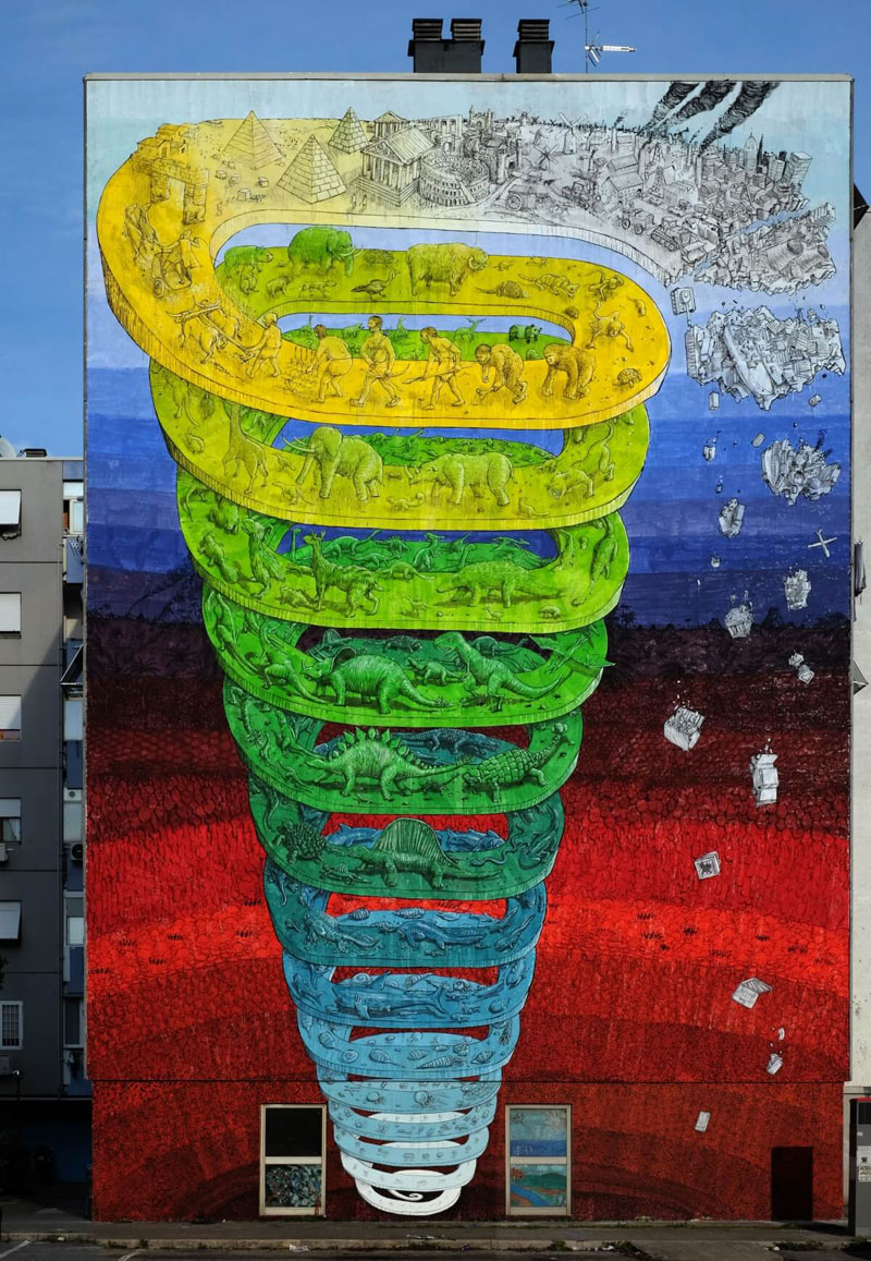 7 story mural by blu rome italy casa dei pazzi spiral (1)