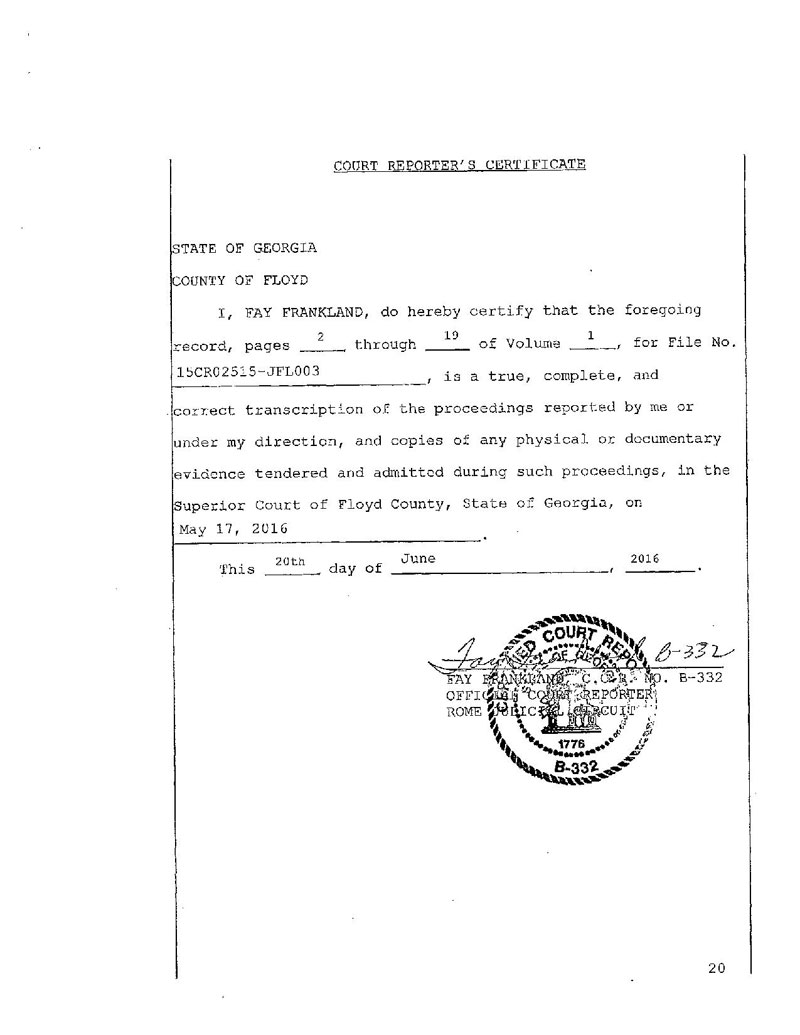 State of Georgia vs Denver Fenton Allen Court Transcript (20)