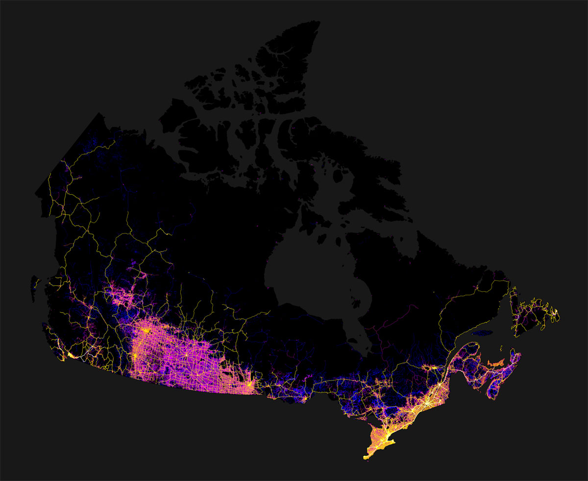 canada mapped by trails roads streets and highways by robbi bishop taylor 1 Canada Mapped by Trails, Roads, Streets and Highways