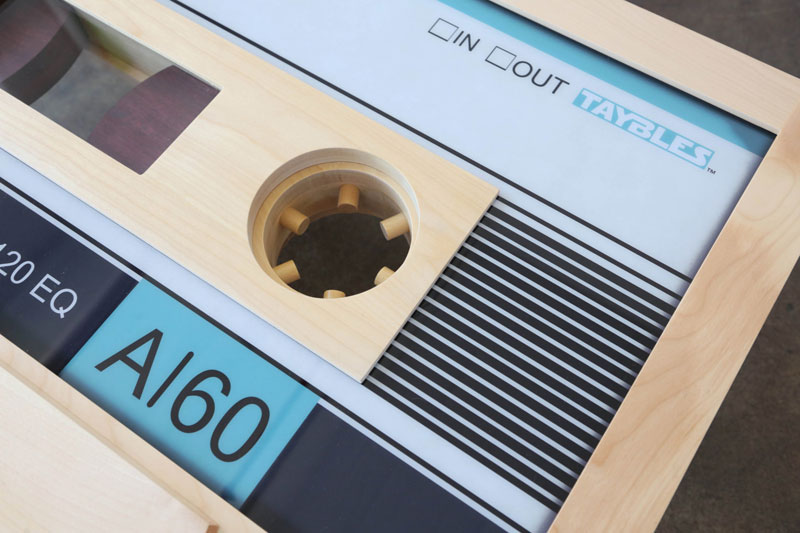 cassette tape coffee tables by taybles 214 graffiti 11 These Retro Cassette Tape Coffee Tables are Awesome