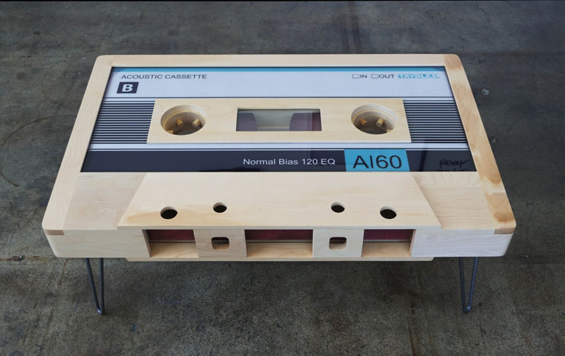 cassette tape coffee tables by taybles 214 graffiti 6 These Retro Cassette Tape Coffee Tables are Awesome