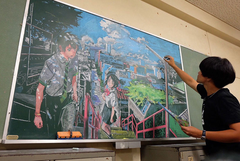 chalkboard drawings by hirotaka hamasaki 2 Teacher Delights Students With Incredible Chalkboard Drawings