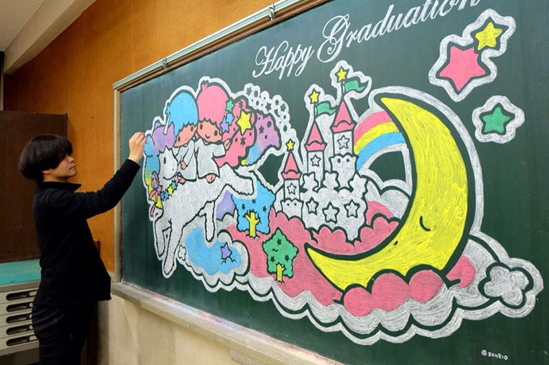 chalkboard drawings by hirotaka hamasaki 6 Teacher Delights Students With Incredible Chalkboard Drawings
