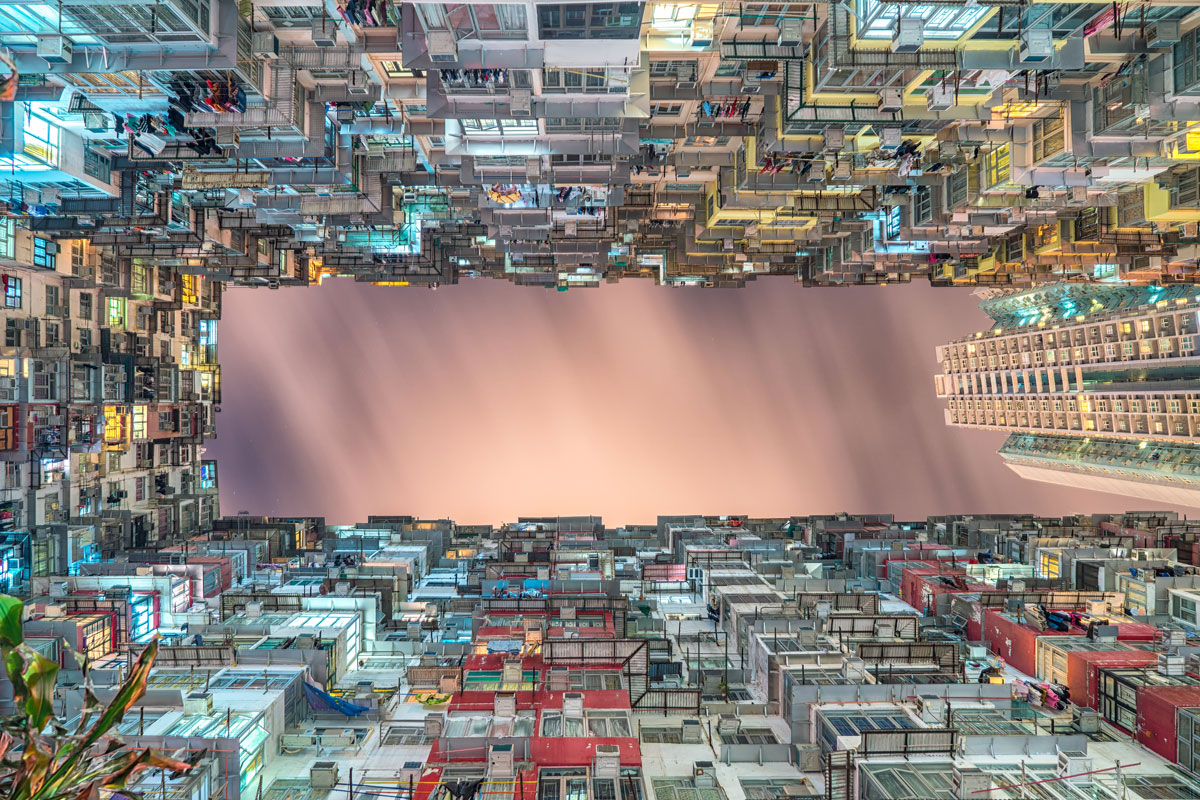 hong kong apartment buildings looking up dense by steven wei Picture of the Day: Hong Kong Density