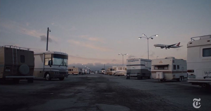 An Airport Parking Lot in LA has Become an Improvised Village of Airline Workers