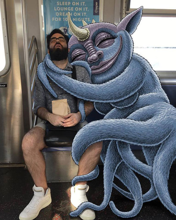 nyc subway doodles on ipad by ben rubin 3 This Guy Doodles on His iPad During His Daily Commute on the NYC Subway
