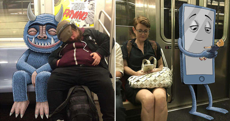 This Guy Doodles on His iPad During His Daily Commute on the NYC Subway
