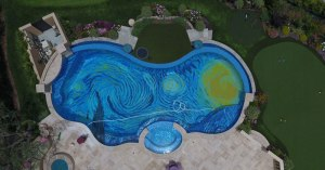 starry night pool overhead drone tiled cover starry night pool overhead drone tiled cover