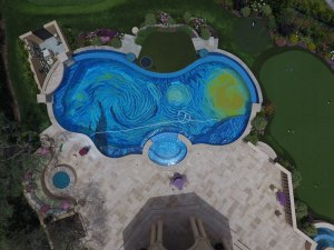 starry night pool overhead drone tiled starry night pool overhead drone tiled