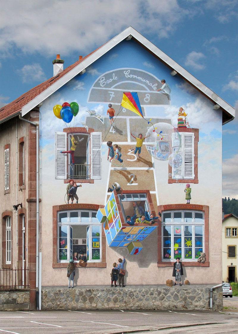 3d trompe loeil paintings by patrick commecy a fresco 6 Patrick Commecy Transforms Building Facades Into 3D Works of Art