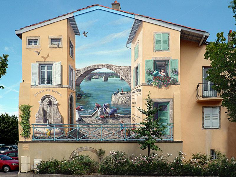 3d trompe loeil paintings by patrick commecy a fresco 9 Patrick Commecy Transforms Building Facades Into 3D Works of Art