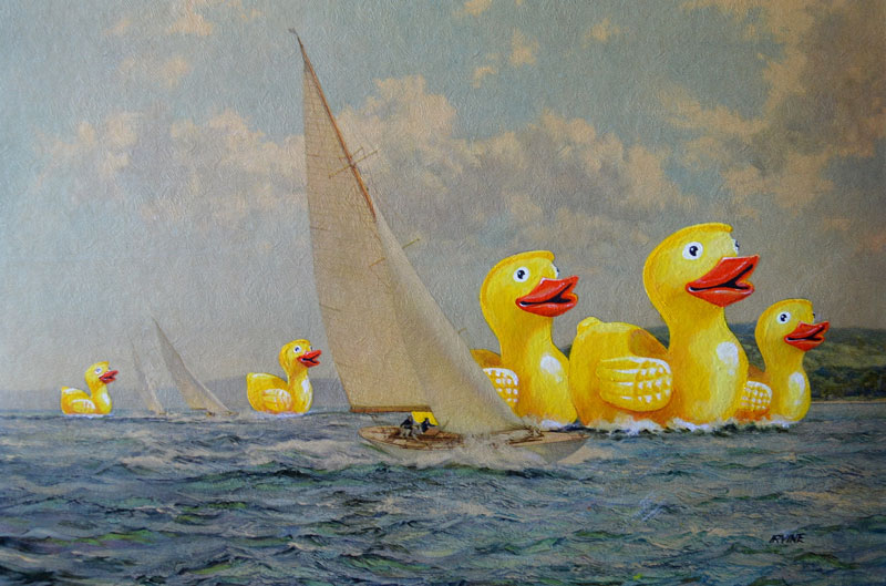 david irvine thrift store paintings 11 This Artist Adds Random Characters Into Discarded Thrift Store Paintings