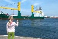 Giant Cargo Ship Politely Responds to Little Girl's Honk Request