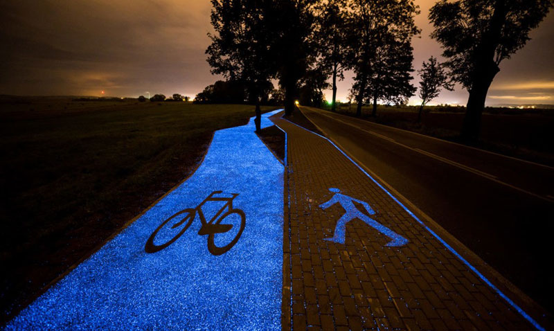 glow in the dark solar powered bike lanes poland tpa 3 Solar Powered, Glow in the Dark Bike Lanes are Being Tested in Poland