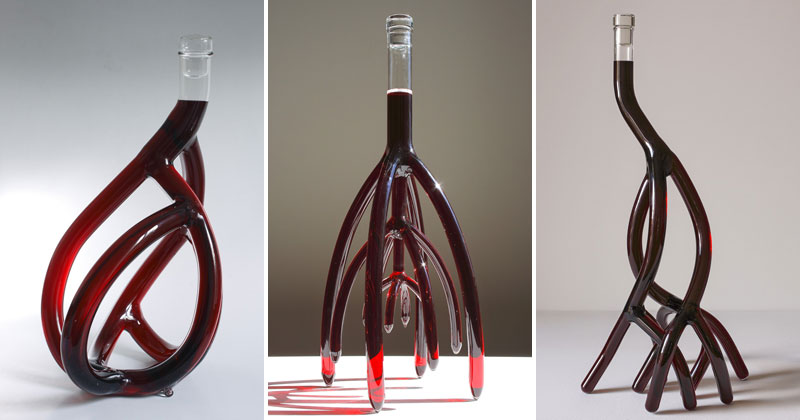 Etienne Meneau's Hand-Blown Glass Wine Decanters Look Like Tree Roots