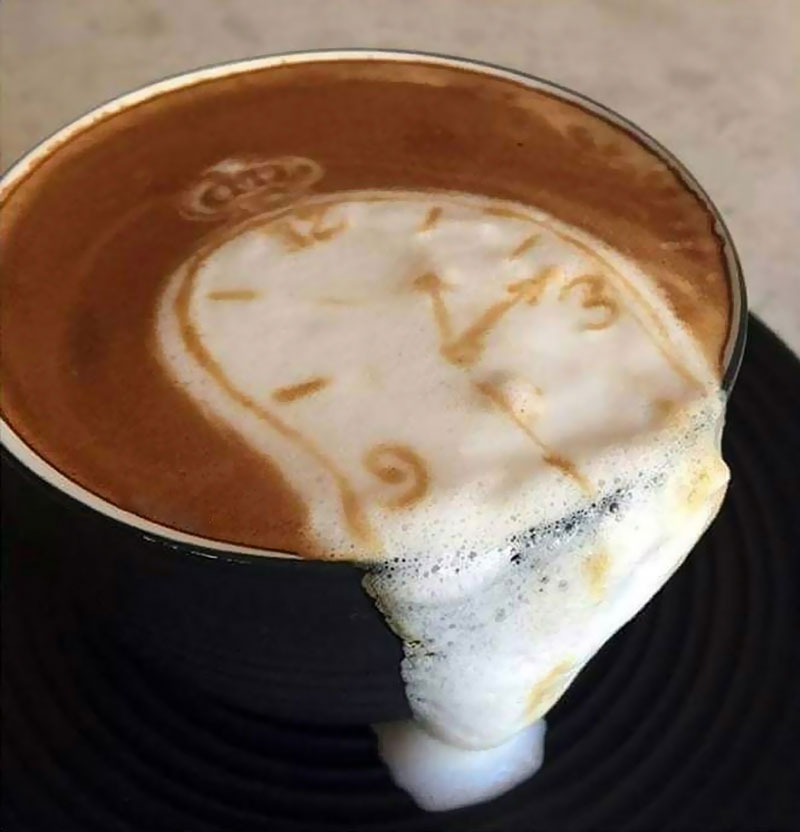 salvador dali latte art melting clock Picture of the Day: Salvador Latte