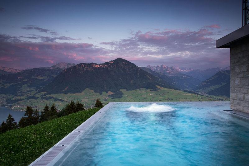 stairway to heaven infinity pool hotel villa honegg switzerland 10 People are Calling This Rooftop Infinity Pool in the Swiss Alps the Stairway to Heaven