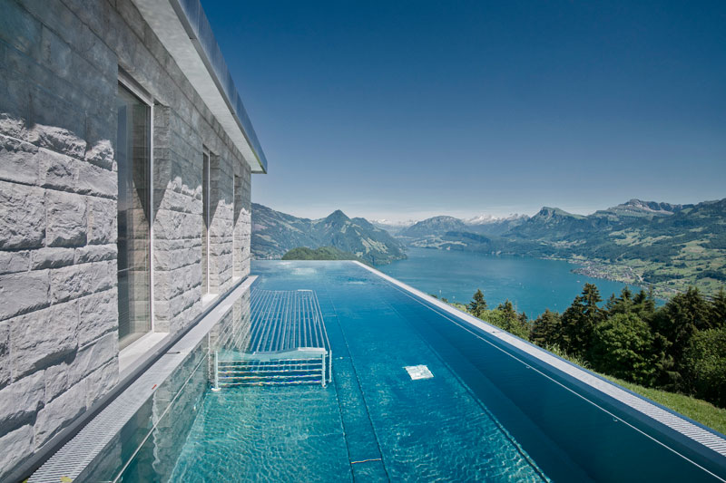 stairway to heaven infinity pool hotel villa honegg switzerland 5 People are Calling This Rooftop Infinity Pool in the Swiss Alps the Stairway to Heaven