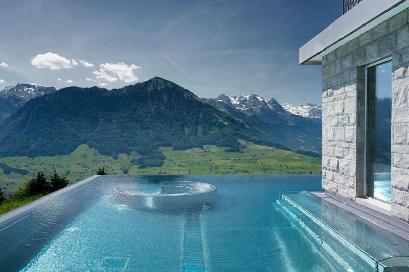 stairway to heaven infinity pool hotel villa honegg switzerland 7 People are Calling This Rooftop Infinity Pool in the Swiss Alps the Stairway to Heaven