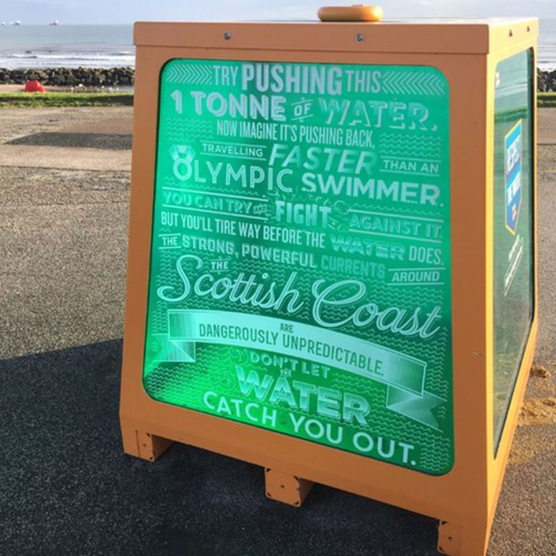 water in a box safety sign This Beach Found a Clever Way to Promote Water Safety