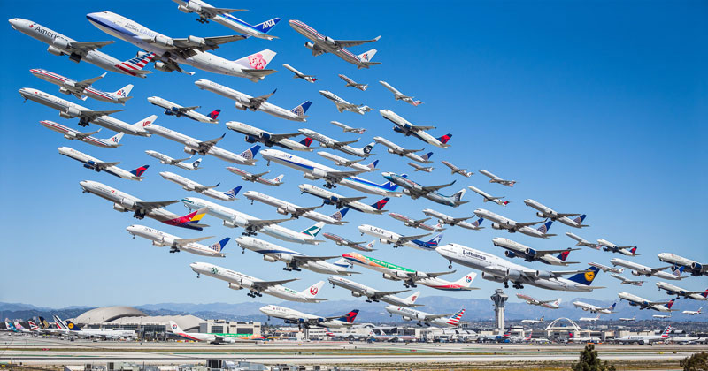 These Composites of Planes Taking Off and Landing Show How Connected the World Is