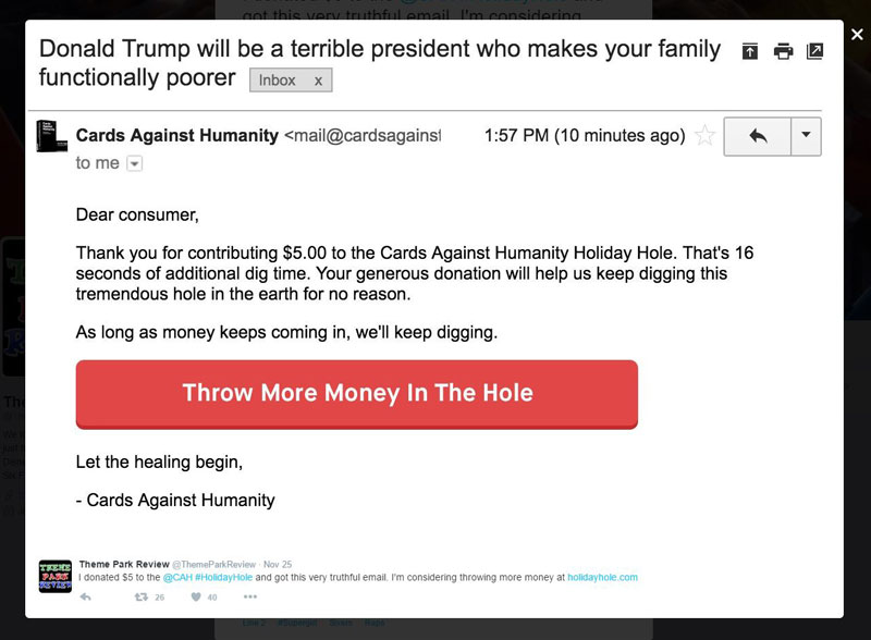 cards against humanity holiday hole 8 Cards Against Humanity Continues to Troll Black Friday With Digging of Big, Stupid Hole