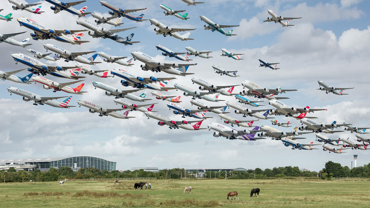 london heathrow 27l terminal 5 and tower These Composites of Planes Taking Off and Landing Show How Connected the World Is