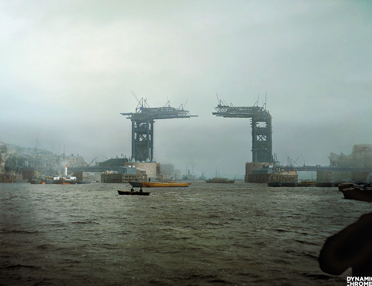 london tower bridge under construction 1889 colorized by dynamic chrome 1 Picture of the Day: Colorized Photo of the Tower Bridge Under Construction, 1889