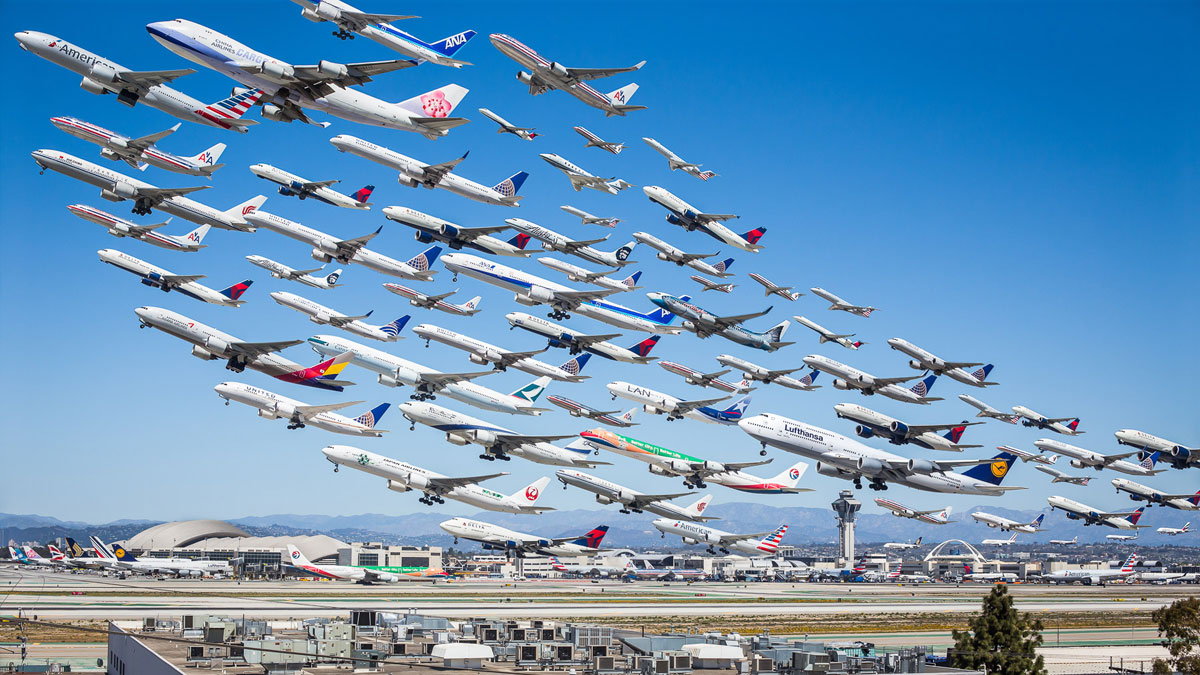 los angeles international 25l and 25r wake turbulence These Composites of Planes Taking Off and Landing Show How Connected the World Is