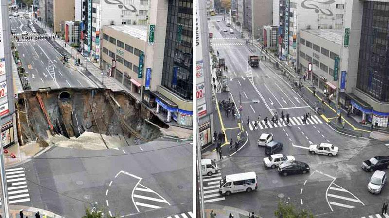 sinkhole in japan fixed in 48 hours 1 Monster Sinkhole in Japan Repaired in 48 Hours
