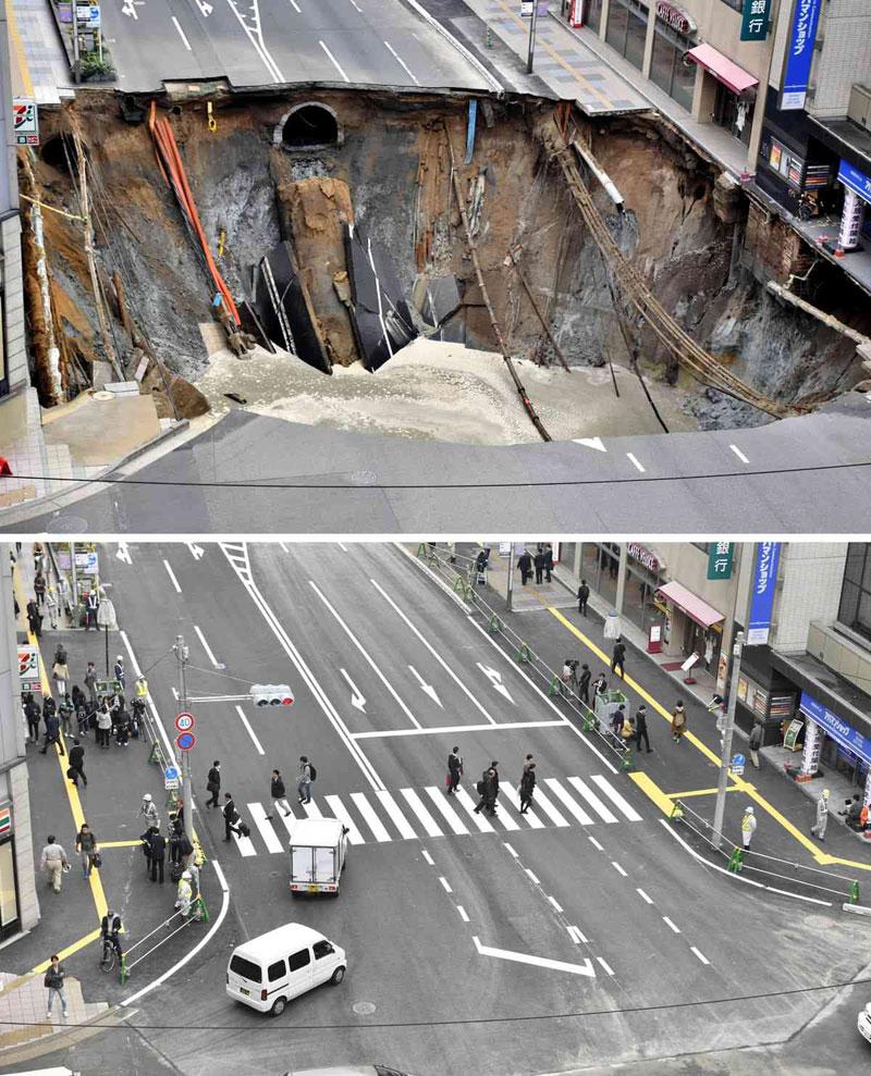 sinkhole in japan fixed in 48 hours 2 Monster Sinkhole in Japan Repaired in 48 Hours