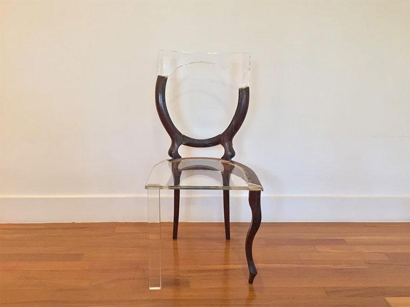 tatiane freitas fixes broken chairs with translucent acrylic 1 Tatiane Freitas Fixes Broken Chairs with Translucent Acrylic