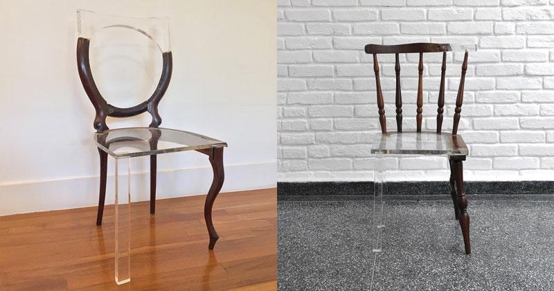 Tatiane Freitas Fixes Broken Chairs with Translucent Acrylic