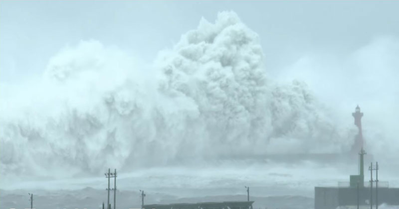 Check Out the Size of the Waves Typhoon Megi Unleashed on Taiwan Last Month