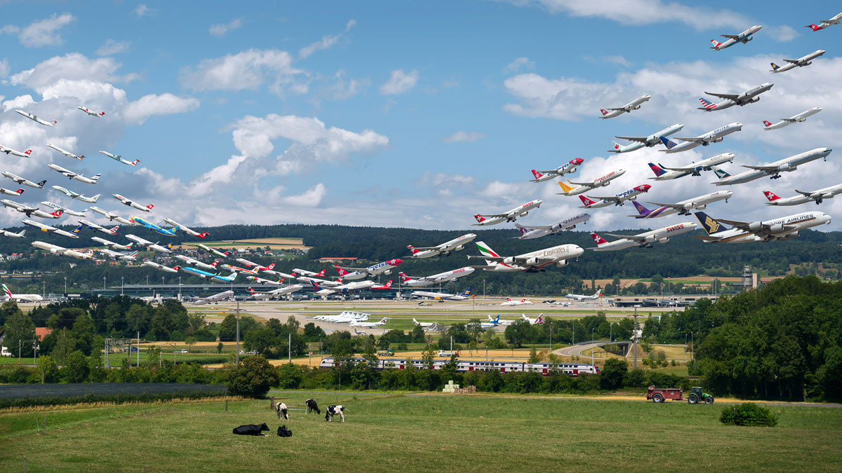 zurich airport 28 and 16 visual separation These Composites of Planes Taking Off and Landing Show How Connected the World Is