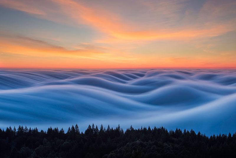 fog waves by nick steinberg 5 Photographer Captures Fog Waves That Look Like Oceans in the Sky