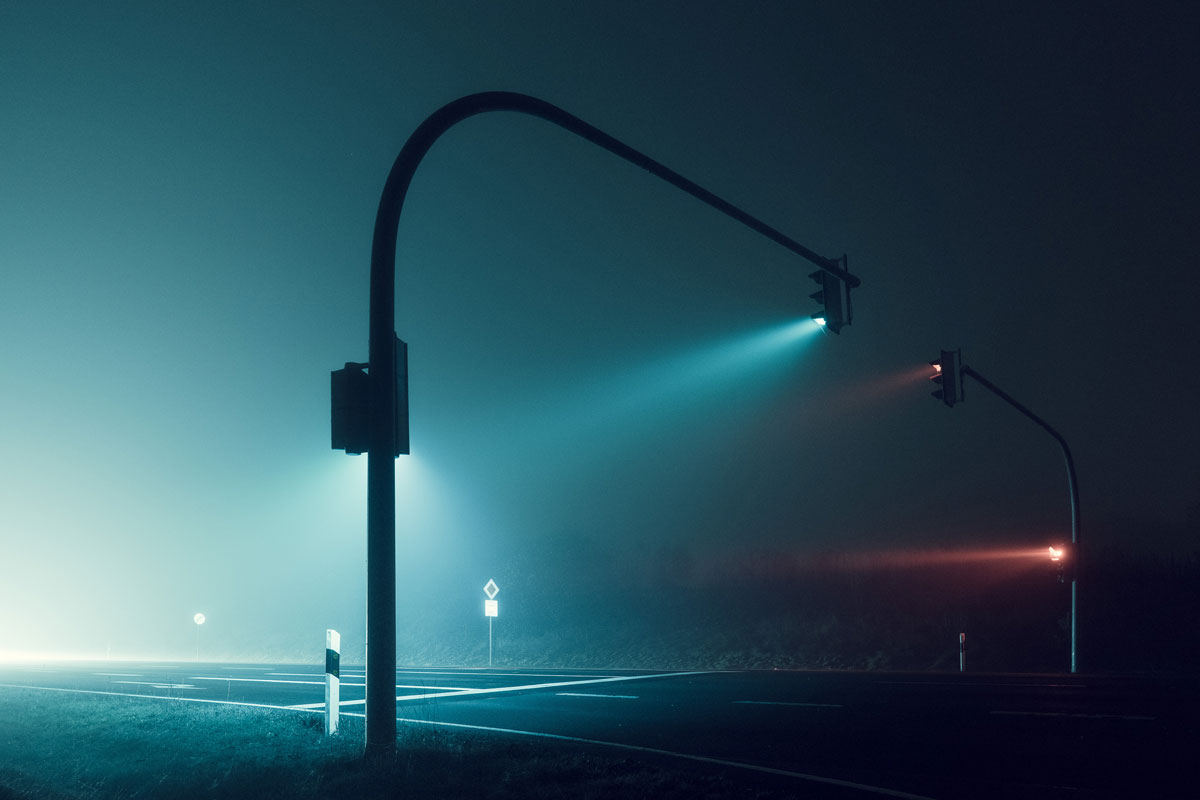 foggy nights and lond exposure lights andreas levers 2 Picture of the Day: Foggy Nights, Long Exposure Lights