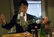 Guy Casually Balances 4 Random Bottles at a Cocktail Party