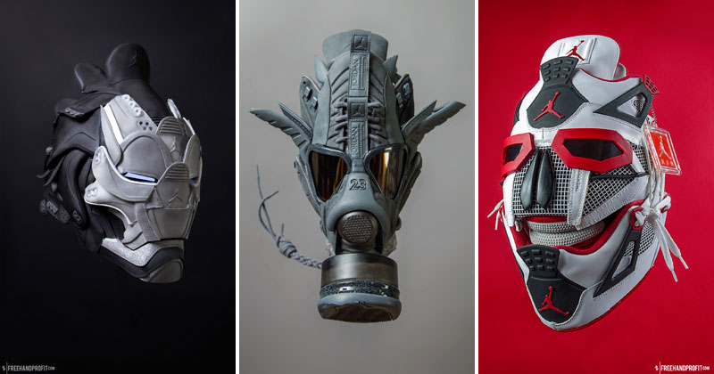 sneaker gas masks by freehand profit gary lockwood 181 Send This Guy Your Kicks and Hell Turn Them Into a Crazy Mask