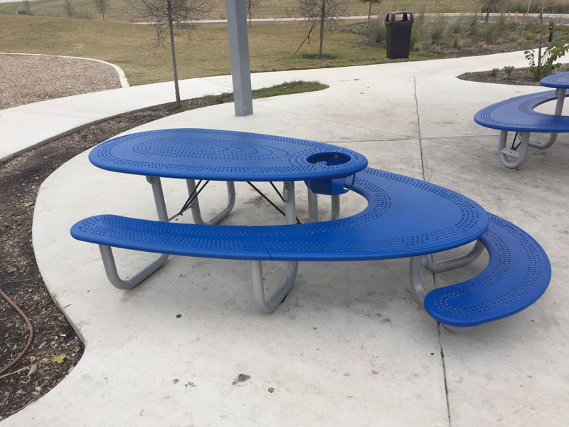 well designed blue picnic table kids adults high chair wheelchair This is One Well Designed Picnic Table
