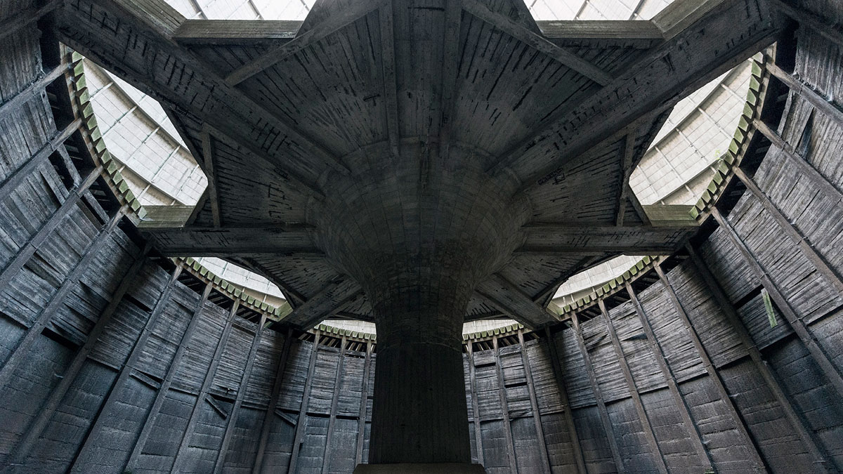 abandoned cooling towers by reginald van de velde 7 The Insides of these Abandoned Cooling Towers Look Straight Out of a Sci Fi Film