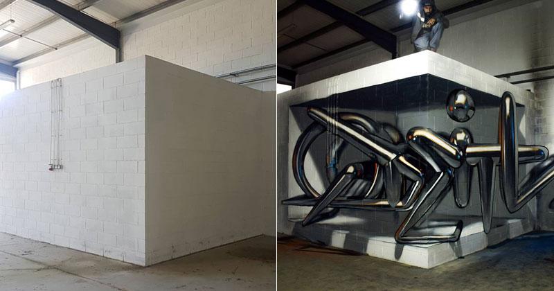 Amazing Anamorphic Corner Wall by Odeith